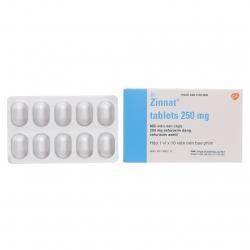 Thuốc kháng sinh Zinnat 250 - Cefuroxim 250mg, Hộp 1 vỉ x 10 viên