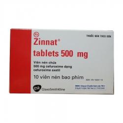 Thuốc kháng sinh Zinnat 500 - Cefuroxim 500mg, Hộp 1 vỉ x 10 viên