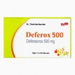 Thuốc thải sắt deferox 500 500mg, Hộp 1 vỉ 10 viên nén