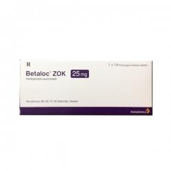 Thuốc tim mạch Betaloc zok 25 - Metoprolol 25mg, Hộp 1 vỉ x 14 viên