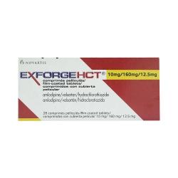 Thuốc tim mạch ExforgeHCT - Amlodipine/valsartan/Hydrochlirothiazide 10mg/160mg/12.5mg, Hộp 4 vỉ x 7 viên