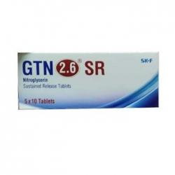 Thuốc tim mạch GTN 2,6 SR  Nitroglycerin 2,6mg, Hộp 50 viên