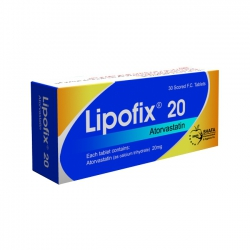 Thuốc tim mạch Lipofix 20mg, Atorvastatin 20mg, Hộp 30 viên