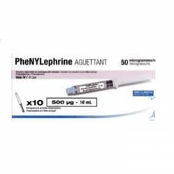 Thuốc tim mạch Phenylephrine Aguettant 50 mcg, Hộp 10 ống