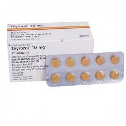 Thuốc cường giáp Thyrozol 10mg Thiamazole 10mg, Hộp 10 vỉ x 10 viên