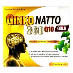Tpbvsk tuần hoàn não Ginkgo Natto Gold 360 Q10, Hộp 100 viên