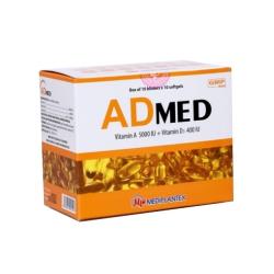 Viên bổ sung ADMED - Vitamin A/Vitamin D3 5000IU/400IU, Hộp 10 vỉ x 10 viên