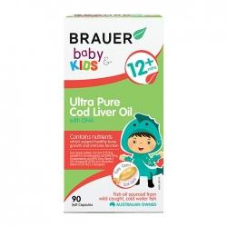Viên bổ sung DHA dầu gan cá tuyết Brauer Baby and Kids Ultra Pure Cod Liver Oil with DHA 90 viên