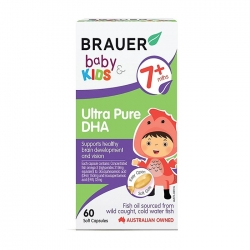 Viên bổ sung DHA tinh khiết cho trẻ Brauer Baby and Kids Ultra Pure DHA 60 viên