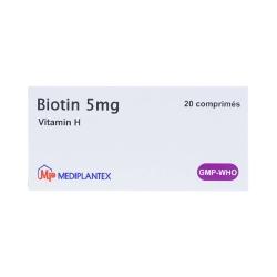 Viên uốn mọc tóc Biotin 5mg - Vitamin H 5mg, Hộp 2 vỉ x 10 viên