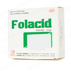 Viên uống bổ sung kẽm Folacid - ZinC 5mg, Hộp 4 vỉ x 10 viên