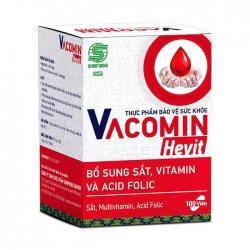 Viên uống bổ sung sắt kết hợp vitamin C, E, B6 và Acid Folic - Shinpoong Vacomin Hevit - Hộp 100 Viên