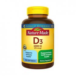 Viên uống bổ sung Vitamin D3 Nature Made D3 1000 IU 25mcg, Chai 650 Viên