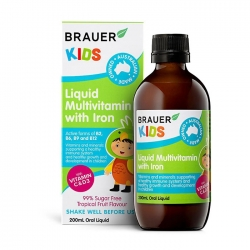Vitamin tổng hợp bổ sung Sắt Brauer Kids Liquid Multivitamin with Iron 200ml