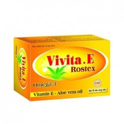 Tpbvsk Vitamin E giúp chống Oxy hóa và làm đẹp da Vivita.e Rostex Omega 3, Hộp 30 viên