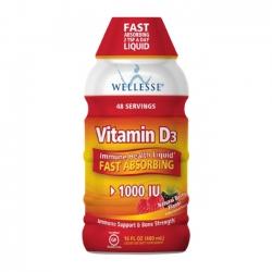 Wellesse Vitamin D3 Liquid 1000 IU giúp xương chắc khỏe, tăng cường hệ miễn dịch 480ml