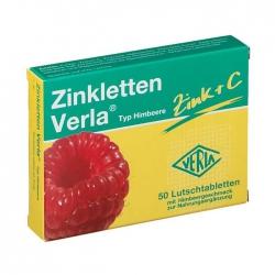 Zinkletten Verla Zinc + C Typ Himbeere 2 vỉ x 25 viên - Viên ngậm bổ sung Kẽm và Vitamin C