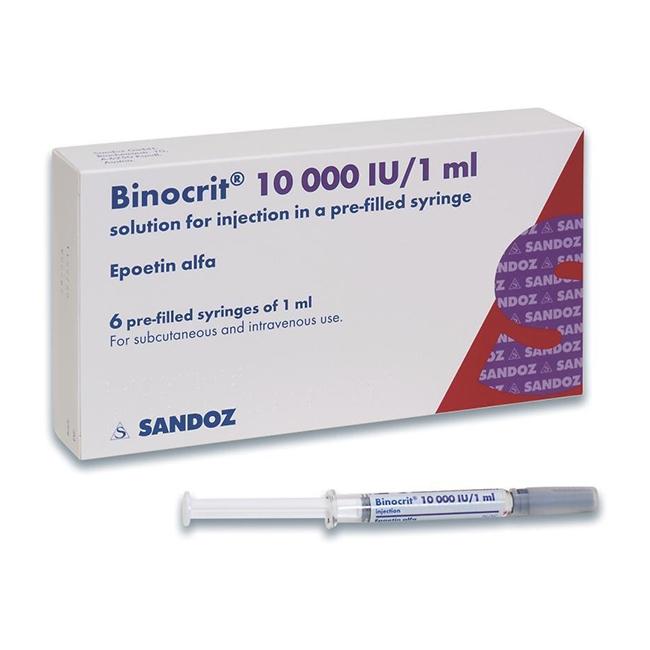 Thuốc Binocrit 10,000 IU/1ml, Hộp 6 bơm tiêm