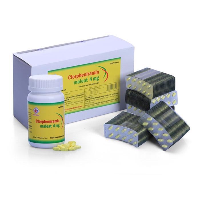 Thuốc chống dị ứng Clorpheniramin 4mg Domesco (Vỉ)