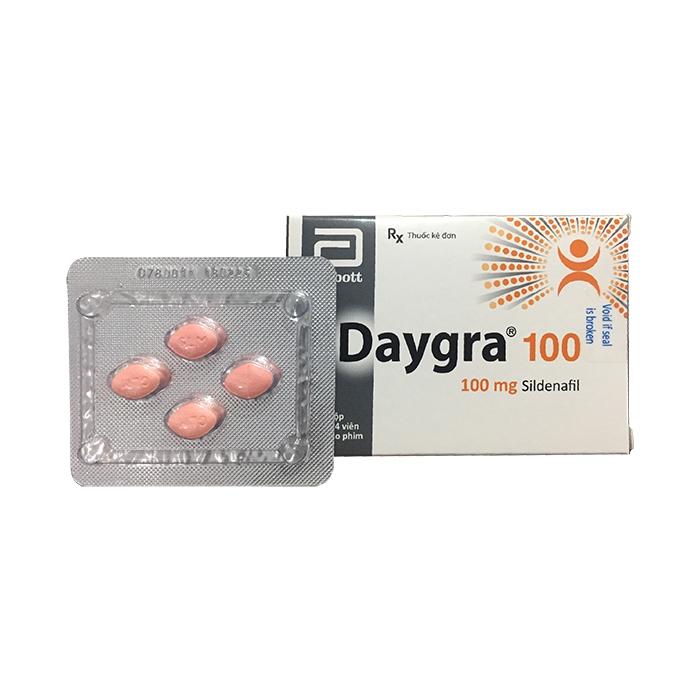 Thuốc cường dương Daygra 100mg, Sildenafil 100mg, Hộp 4 viên