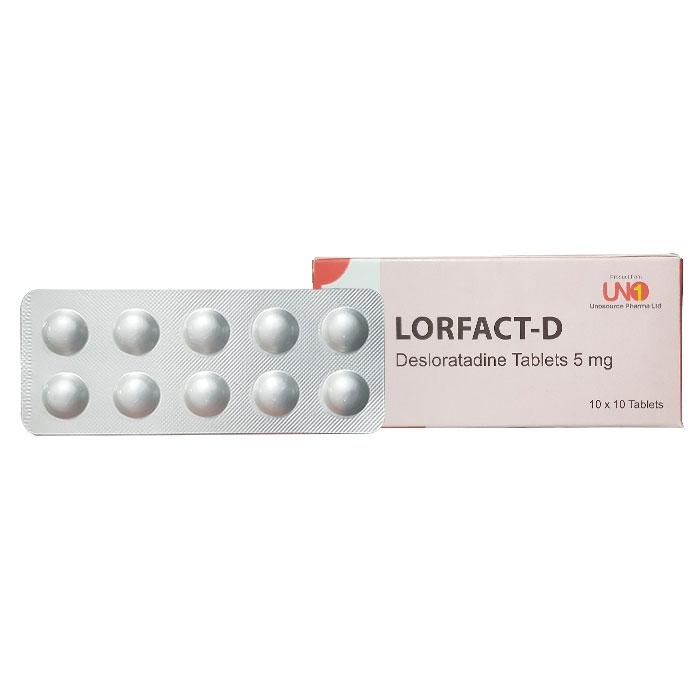 Thuốc dị ứng LORFACT D 5mg, Desloratadine 5mg, Hộp 100 viên