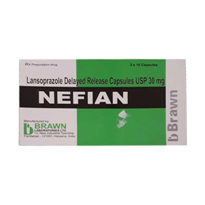 Thuốc điều trị viêm loét dạ dày Brawn Nefian Lansoprazole 30mg, Hộp 30 viên