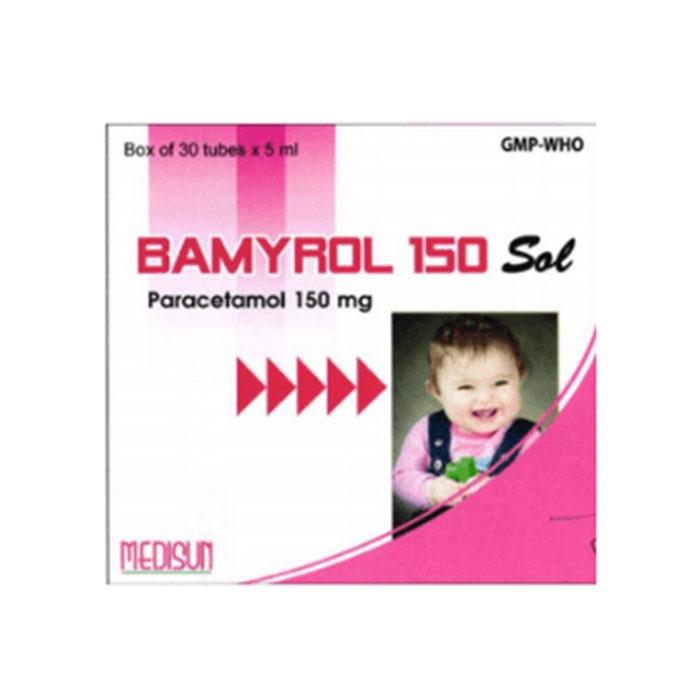 Thuốc hạ sốt Bamyrol 150mg/5ml, Hộp 20 ống