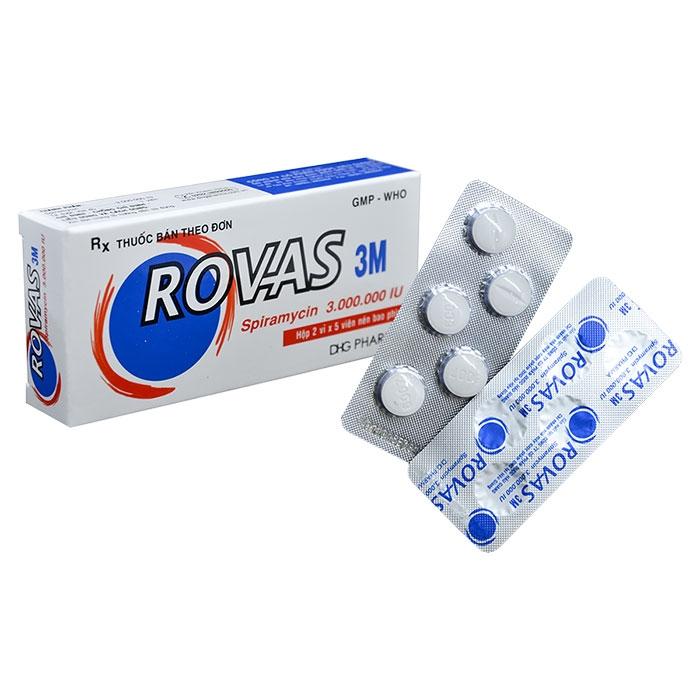 Thuốc kháng sinh DHG Rovas 3M Spiramycin 3.000.000 IU, Hộp 10 viên