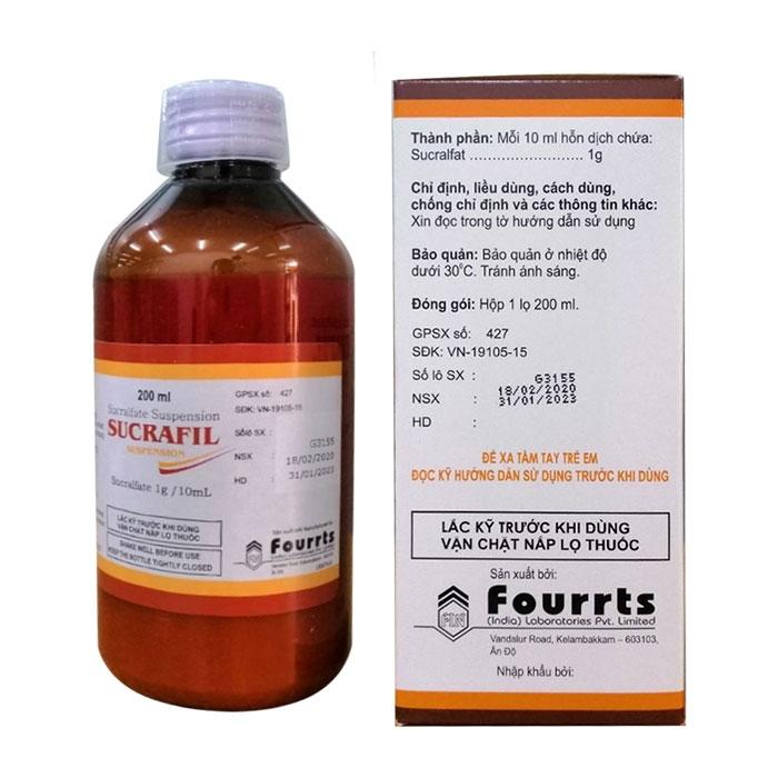 Thuốc tiêu hóa Fourrts Sucrafil 1g/10ml, Chai 200ml