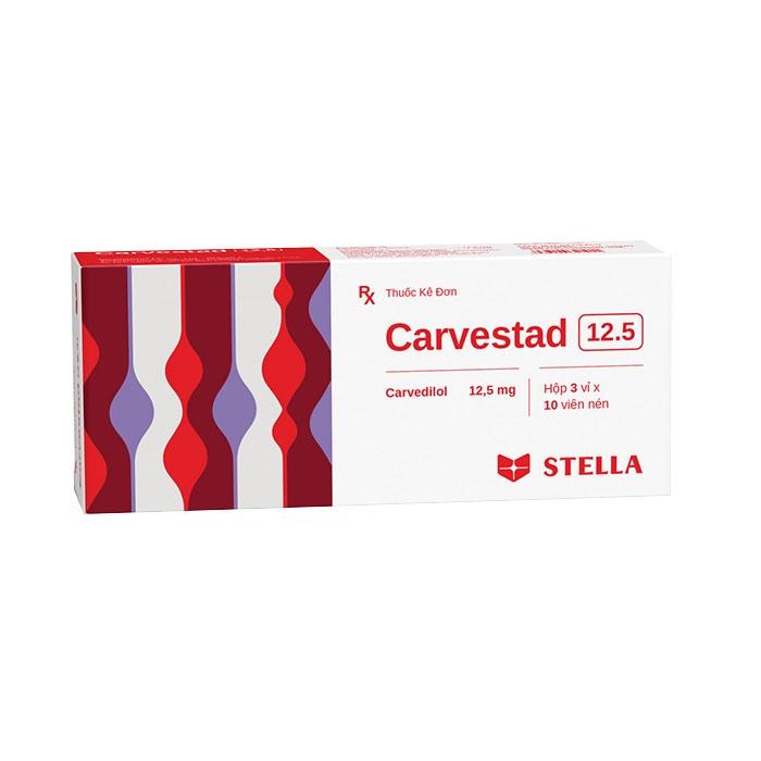 Thuốc tim mạch Stella Carvestad 12,5mg, Hộp 30 viên