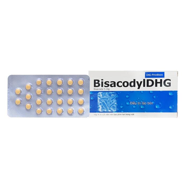 Thuốc trị táo bón Bisacodyl DHG 5mg, Hộp 4 vỉ x 25 viên