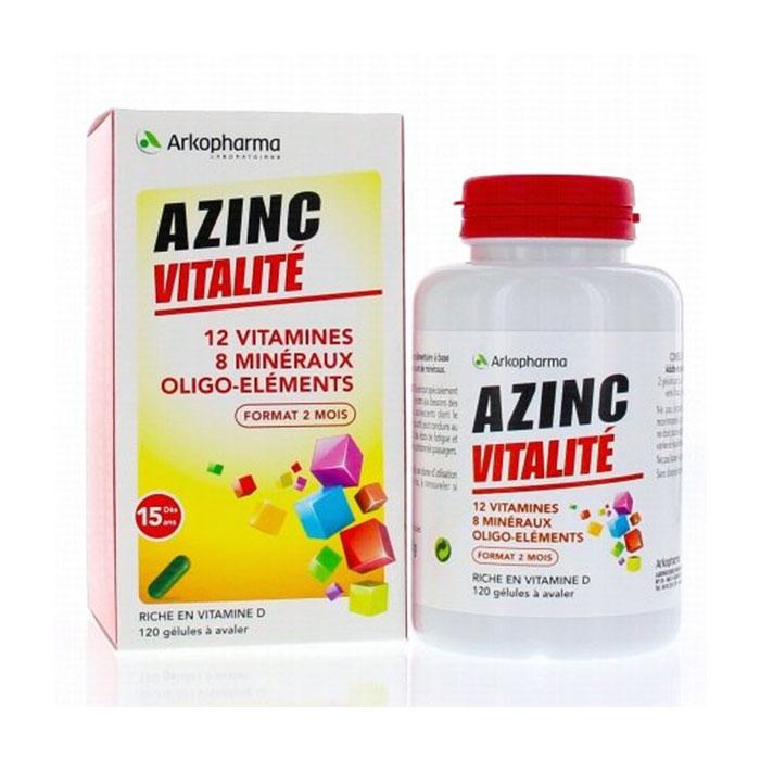 Tpbvsk bổ sung vitamin tổng hợp Arkopharma Azinc Vitalité, Chai 120 viên