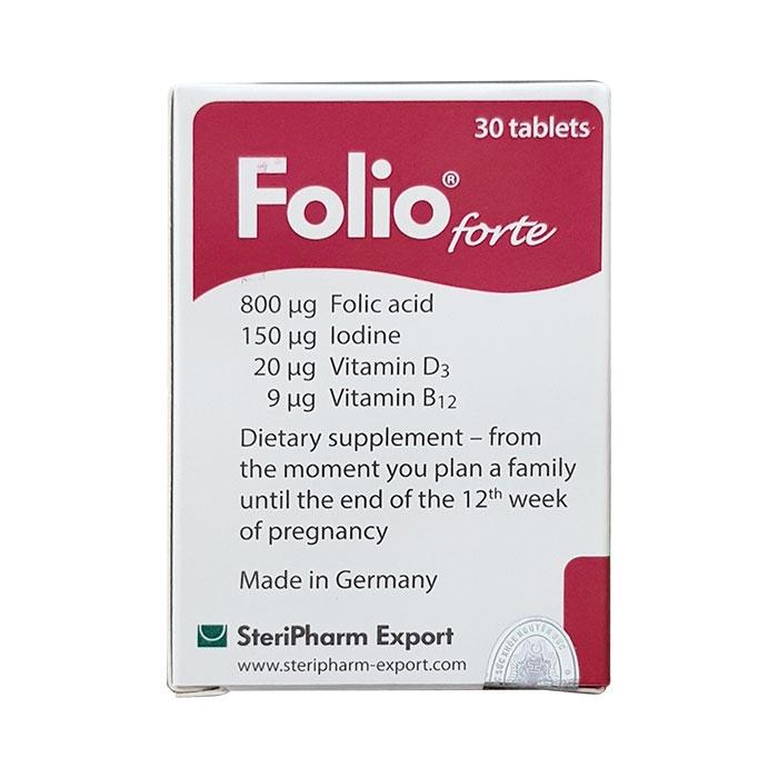 Tpbvsk cho bà bầu Folio Forte 800mcg, Hộp 120 viên
