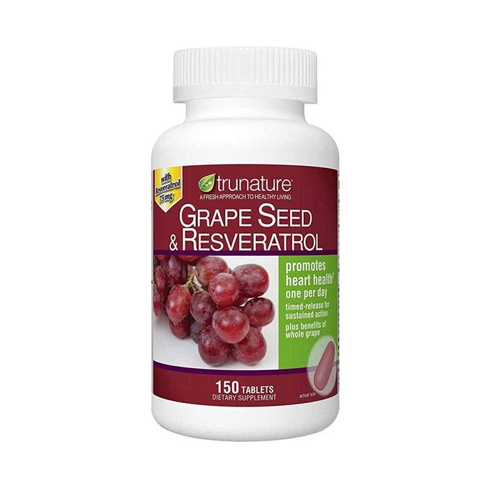 Tpbvsk chống lão hóa Trunature Grape Seed and Resveratrol, Chai 150 viên