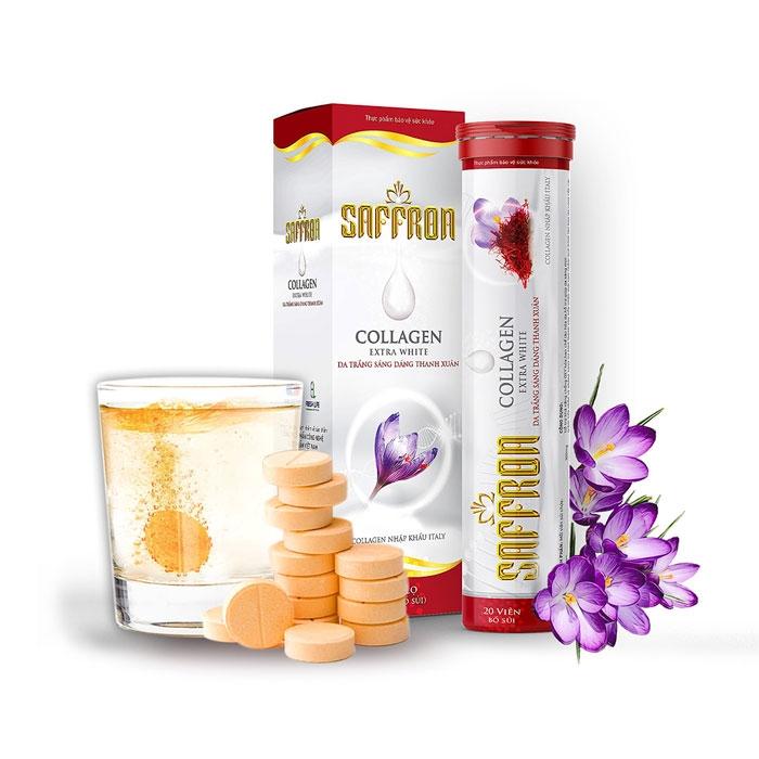 Tpbvsk sủi trắng da Saffron Collagen Extra White, Tuýp 20 viên