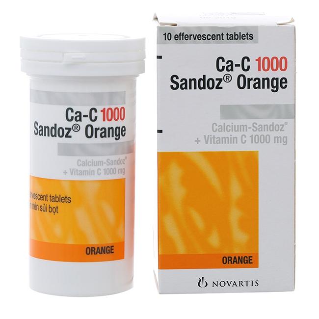 Viên sủi Ca-C 1000mg  Sandoz Orange, Tube 10 viên