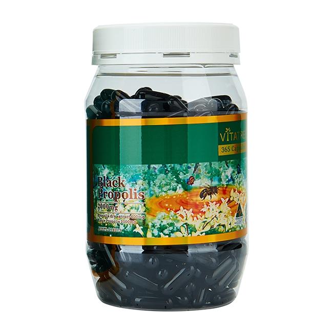 Keo ong đen Vitatree Black Propolis 2000mg, Lọ 365 viên